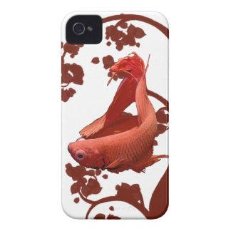 Pescados que luchan siameses rojos de Betta Carcasa Para iPhone 4