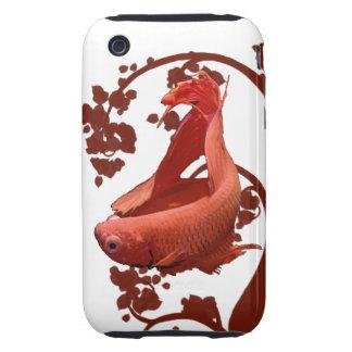 Pescados que luchan siameses rojos de Betta iPhone 3 Tough Carcasas