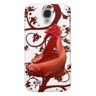 Pescados que luchan siameses rojos de Betta Funda Para Galaxy S4