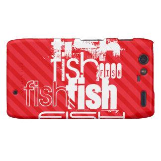 Pescados; Rayas del rojo del escarlata Motorola Droid RAZR Funda