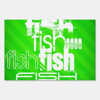 Pescados; Rayas verdes de neón Letreros