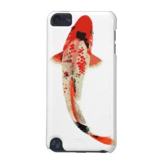 Pescados rojos, blancos, y negros de Koi