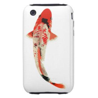Pescados rojos, blancos, y negros de Koi Tough iPhone 3 Cobertura