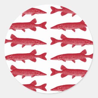 Pescados rojos de Muskie Pegatina Redonda