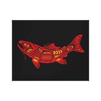 Pescados rojos del alcohol del Haida en negro Lona Estirada Galerías