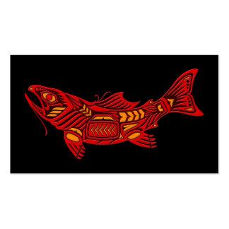 Pescados rojos del alcohol del Haida en negro Tarjetas Personales