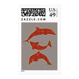 Pescados rojos en el galón del zigzag - mono franqueo
