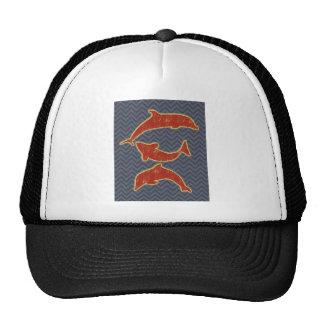 Pescados rojos en galón del zigzag - negro y gris gorras