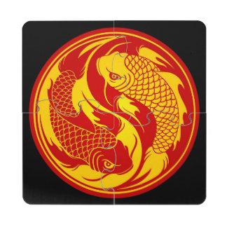 Pescados rojos y amarillos de Yin Yang Koi Posavasos De Puzzle