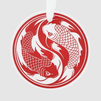 Pescados rojos y blancos de Yin Yang Koi