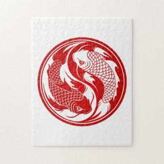 Pescados rojos y blancos de Yin Yang Koi Puzzles