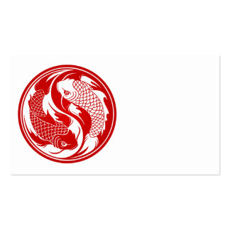 Pescados rojos y blancos de Yin Yang Koi Plantilla De Tarjeta Personal