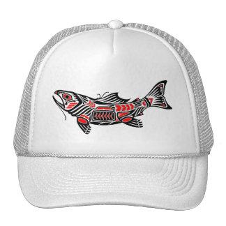 Pescados rojos y negros del alcohol del Haida Gorros Bordados