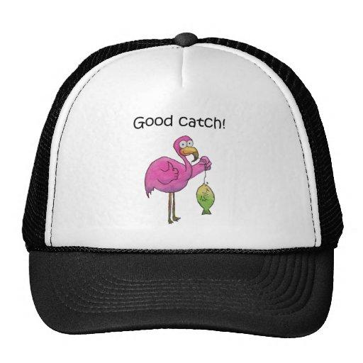 Pescados rosados caprichosos divertidos del flamen gorras de camionero