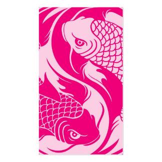 Pescados rosados de Yin Yang Koi Tarjeta De Negocio