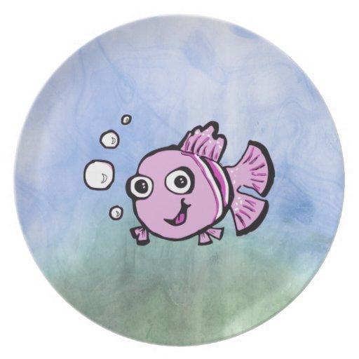 Pescados rosados lindos plato de cena