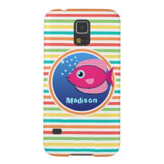 Pescados rosados; Rayas brillantes del arco iris Funda Galaxy S5