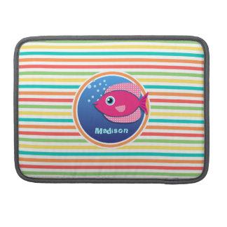 Pescados rosados; Rayas brillantes del arco iris Fundas Para Macbook Pro