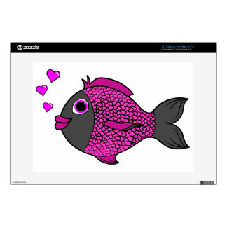 Pescados rosados y negros del el día de San Calcomanía Para Portátil