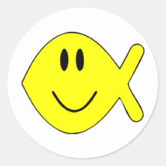 pescados sonrientes 1 pegatina redonda