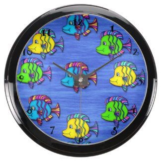 Pescados tropicales 1 reloj de la aguamarina reloj aquavista