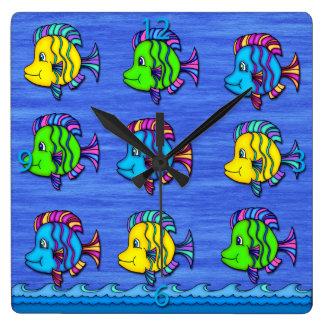 Pescados tropicales 1 reloj de pared cuadrado