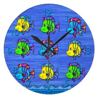 Pescados tropicales 1 reloj de pared redondo