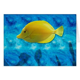 Pescados tropicales amarillos tarjeta de felicitación