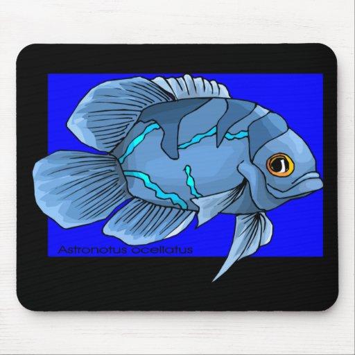 Pescados tropicales azules hermosos de Óscar Alfombrillas De Ratón