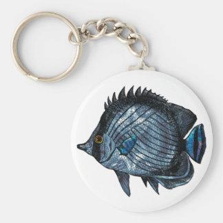 Pescados tropicales de la mariposa del azul de ace llavero personalizado