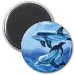 Pescados tropicales de los delfínes iman de nevera