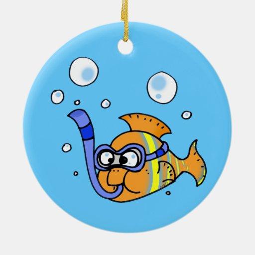 pescados tropicales del dibujo animado adorno de navidad