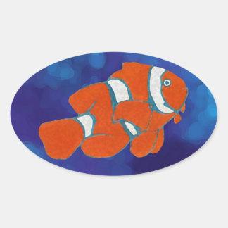 pescados tropicales del payaso del agua salada pegatina ovalada
