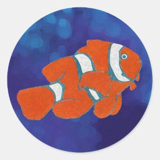 pescados tropicales del payaso del agua salada pegatina redonda