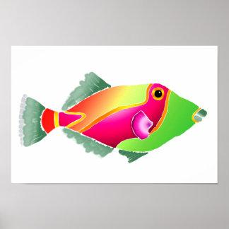 Pescados tropicales del rosa y del verde póster