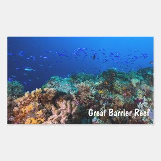 Pescados tropicales en la gran barrera de coral pegatina rectangular