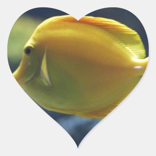 pescados tropicales pegatina de corazon