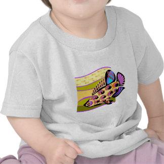 Pescados tropicales retros coloridos camisetas