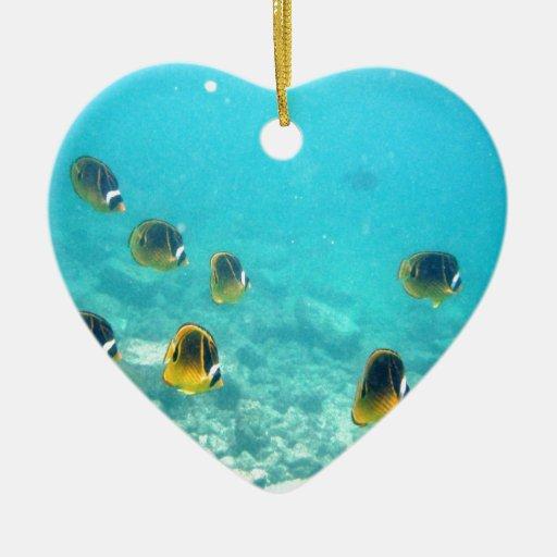 Pescados tropicales subacuáticos ornamento de navidad