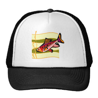 Pescados tropicales verdes y rojos retros enrrolla gorras