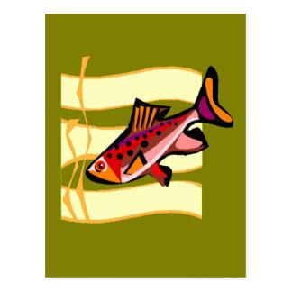 Pescados tropicales verdes y rojos retros enrrolla postal