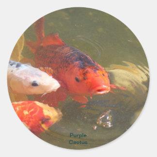 Pescados v.1 de Koi Pegatina Redonda
