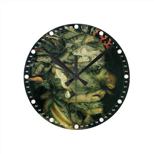 Pescados (verde) por Arcemboldo Reloj Redondo Mediano