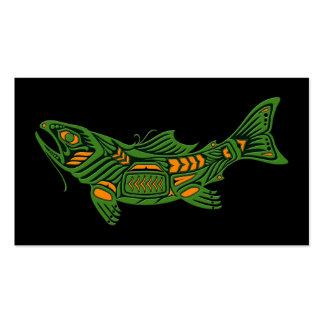 Pescados verdes del alcohol del Haida en negro Tarjeta De Visita