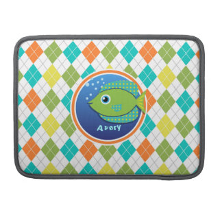 Pescados verdes en el modelo colorido de Argyle Fundas Macbook Pro
