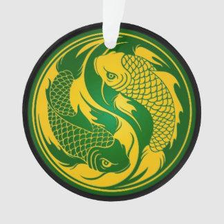 Pescados verdes y amarillos de Yin Yang Koi