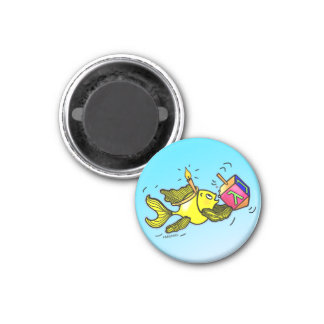 Pescados vivarachos de Hanuka - regalo cómico del  Imán Redondo 3 Cm