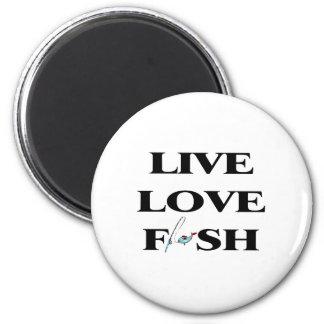 Pescados vivos del amor imán redondo 5 cm