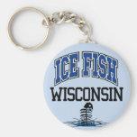 Pescados Wisconsin del hielo Llavero