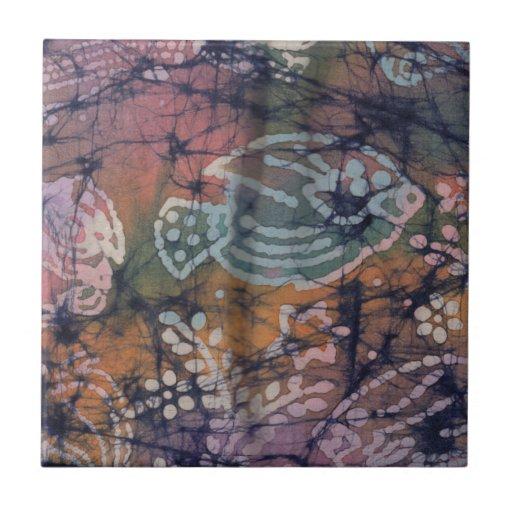 Pescados y batik floral del teñido anudado azulejo cuadrado pequeño